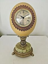 Ostrich Egg Hand Decorated Clock - Very Unique Rare Collectable Clock