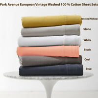 Park Avenue European Vintage Washed 100 % Cotton Sheet Set 6-Colour Options