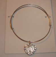 silver tone adjustable bangle heart charm bracelet New