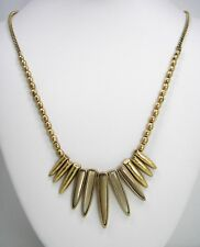 Lucky Brand Sun Ray Stone Spikes Gold Tone Bead Necklace