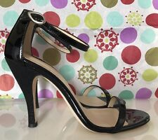 $399 Marchez Vous Justyne Black Patent Leather Strappy Heel Sandals 8M NEW