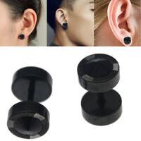 2pc 8mm Men's Women's Stainless Steel Ear Stud Earrings Tunnel Spike Screw Plugs