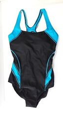 ROOTS ONE PIECE BATHING SUIT Size 10 / 30 Black and Blue Swim