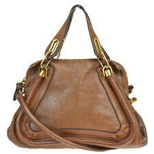Authentic CHLOE Paraty 2Way Shoulder Hand Bag Leather Brown Italy 64MA980