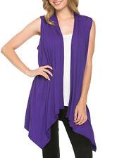Womens Azules Solid Sleeveless Asymmetric Hem Open Front Cardigan