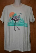 Mens Ecru Flamingo Print Univibe Short Sleeve Tee Shirt Size Large NWT NEW