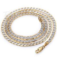 """4mm Hammer Curb Cuban Mens Chain Womens Yellow/White Gold Filled Necklace 18-36"""""""