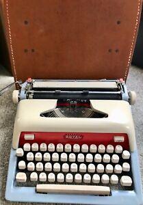 Vintage Royal Futura 800 Blue/ Gray Typewriter  w/ leather key lock case