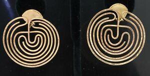 Vintage heavy 14K gold amazing jumbo abstract earrings