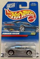 1998 Hotwheels Ferrari F512 M Testarossa Silver Grey! Mint! MOC!