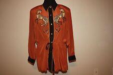 Bob Mackie Cougar Cheetah Cat Button Up jacket Medium animal print rust gold