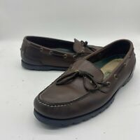 LL Bean - Stitched Leather Boat Deck Slip On Moc Loafers Shoes Mens 9.5 M