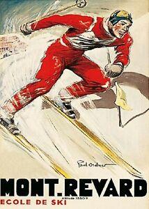 """Mont Revard 1930 Ecole De Ski Vintage Poster Printed in France 20"""" x 28"""""""