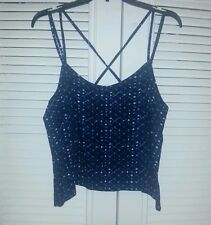 NWT MUDD Junior Strappy Back Tank Top SHIRT Blue Tile Size XL