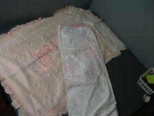 New Listing2 Vintage Baby Blankets Cotton Crib Blanket w/ Rabbit & Pink Silk w/ Rabbit 230