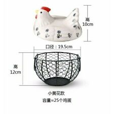Black Metal Mesh Wire Egg Storage Basket with White Ceramic Farm Chicken Top and