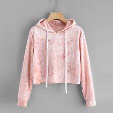 Womens Long Sleeve Hoodie Sweatshirt Jumper Hooded Pullover Tops Velvet Blouse