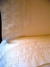 VENICE LACE Bed Sheet Set KING 4pc White 100% Cotton Sateen 400TC by UtaLace NEW
