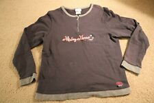 Disney Genuine Mickey Mouse partial Zip Pullover, size Large, Gray Black