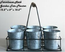 HERB CADDY CARRIER HERB GARDEN Farmhouse Metal Tote Planter Pots 6 Galvanized