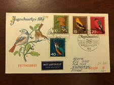 1963 Germany Deutsche Bundenpost to Israel First Day Cover Ersttag Birds