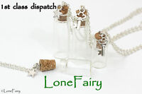 Fill your Own Empty Glass Bottle Jar Silver Plated Chain Necklace Steampunk