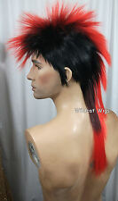 Quality MOHAWK Wig ..Unisex .. Black tipped in RED *