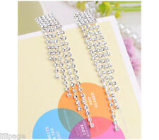 Non-Pierced Multi-Lined Crystal Tassels Diamante Chandelier Clip-On Earrings