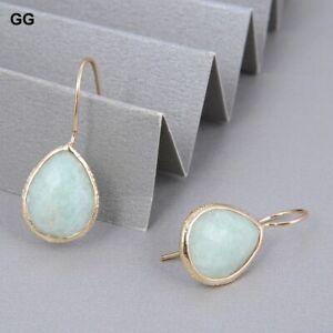 Green Amazonite Gold Plated Dangle Hook Real Stone Hook Earrings For Women