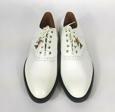 New Johnston Murphy Aristocraft White 12A Golf Shoe Embroidered Greens Keeper