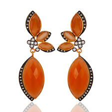 CZ Gemstoe Dangle  Earrings 18k Gold Plated Wedding Accessories Fashion Jewelry