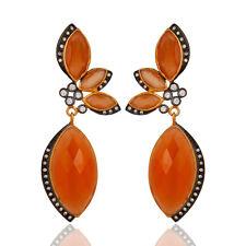 CZ Gemstone  Dangle Earrings 18k Gold Plated Wedding Accessories Fashion Jewelry