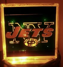 Lighted NY Jets Glass Block Light~ Home Decor~Gift~Lamp