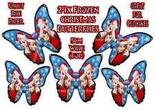 24 X Disney Frozen Anna Elsa Natale FARFALLE COMMESTIBILI CUP CAKE TOPPER DI RISO