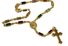 Guadalupe CZ 18k Gold Plated Rosary Bracelet - Rosary Decenario with Cross