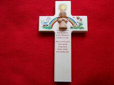 Kinderkreuz mit Keramikengel Taufkreuz Holzkreuz Wandkreuz Kommunion
