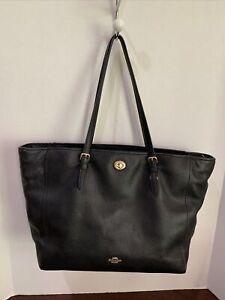 Coach Signature Diaper Bag/Baby Bag/Tote In Black/Gold