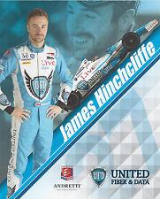 "2014 INDY 500 JAMES HINCHCLIFFE CANADA UFD INDYCAR 8"" X 10 "" HERO CARD !"