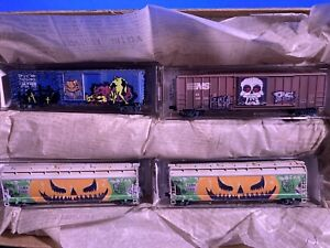 n scale micro trains graffiti limited edition 4 car set train lobby select #0001