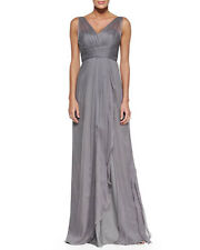 AMSALE Women's Silk Chiffon Pleated-Bodice Sleeveless Evening Gown Size 12