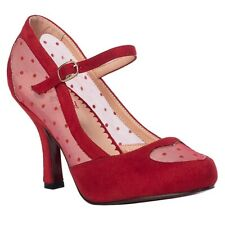 Banned Retro Rockabilly Vintage Swing Pumps - Spotted Heart Spitze Rot