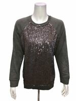 Isaac Mizrahi Women's Sequin Panel French Terry Sweatshirt Top Grey Medium Size