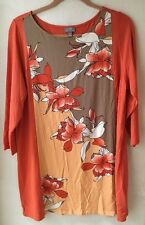 J.Jill Wearable Collection Large Color Block  Floral Print Tunic Shirt