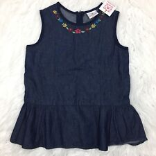 Hanna Andersson Girls 150 US 12 Peplum Denim Floral Embroidered Tank Top NWT