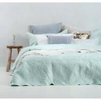 Bambury Botanica Glacier Mint Blue Queen King Coverlet Set