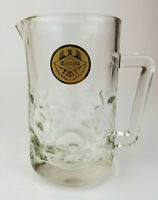 Rare Large Vintage Moctezuma Cerveza De Barril Glass Pitcher Mexico Beer