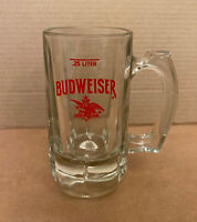 Vintage Budweiser Clear Heavy Glass Beer Mug Stein King of Beers Red Lettering