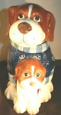 Vintage Mercuries Cookie Jar St Bernard or Beagle And Puppy Dog 10 inch Tall