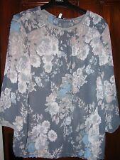 Gris Floral Camiseta/Top/Blusa de al talla 14 BNWT