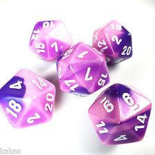 Set of 5 D20 Chessex Dice  RPG D&D - Gemini Pink Purple w/ White  PG2055